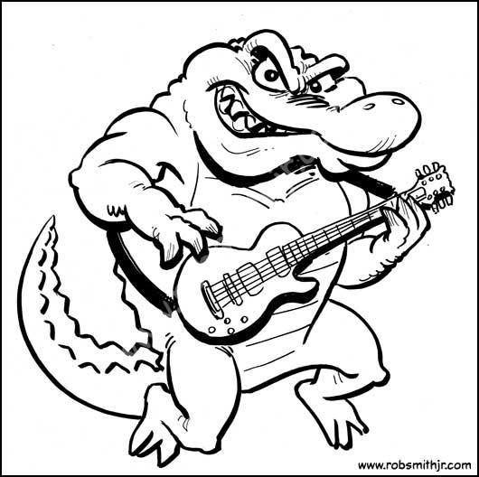 Cartoon-Trot-GatorGuitar--Bw-Web